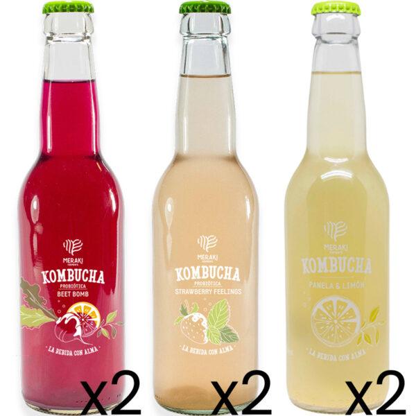 Meraki Ferments bebida kombucha pack 3 sabores